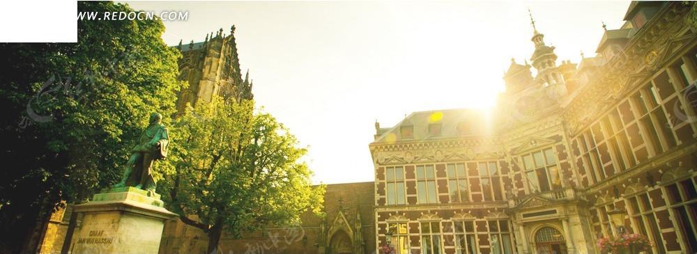 欧式楼房和树木淘宝店招背景图片