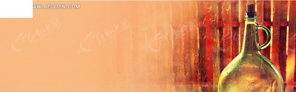玻璃瓶和木栅栏淘宝海报背景