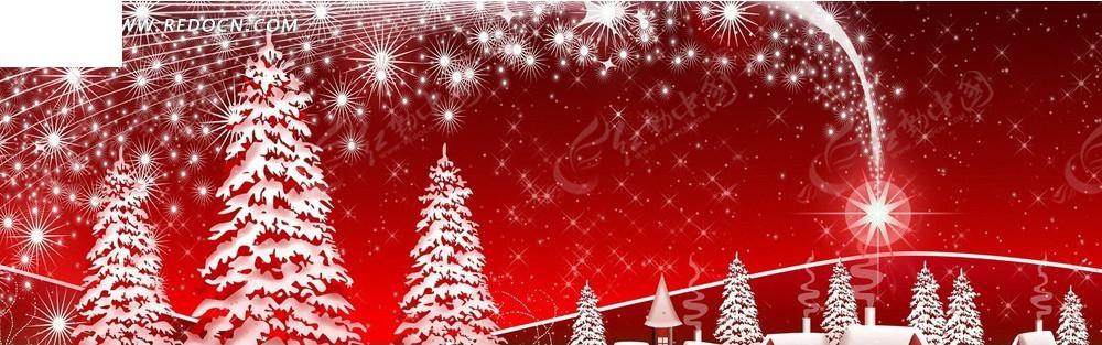 淘宝�_红色系圣诞树淘宝海报背景