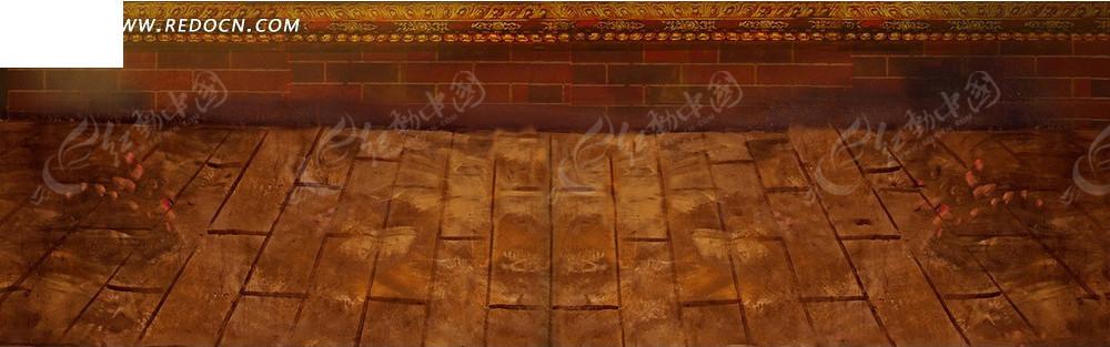 红色砖墙和地板淘宝海报背景