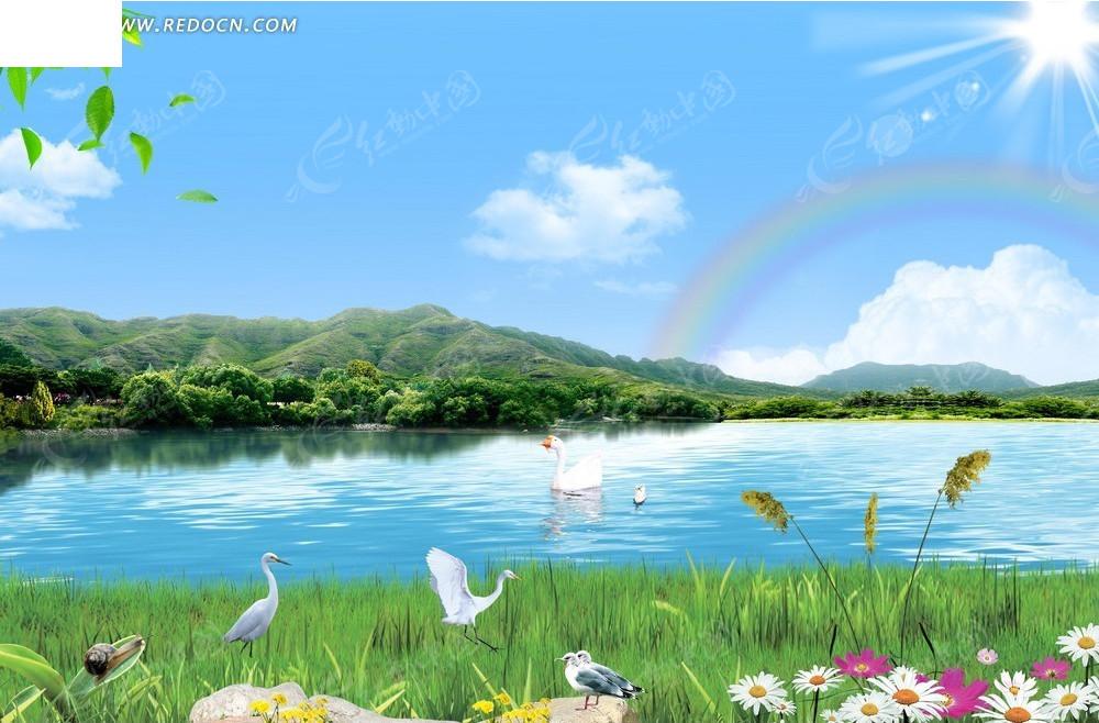蓝天白云山水美景背景设计
