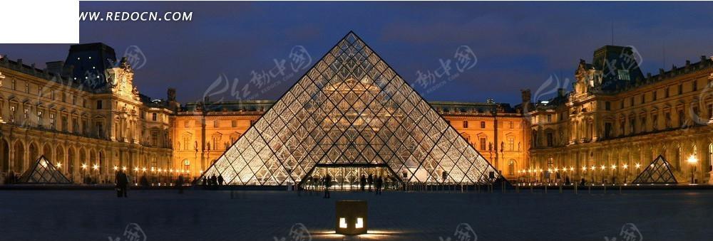 欧式大楼和广场夜景淘宝海报背景图片