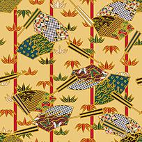 日本风格扇形印花图案