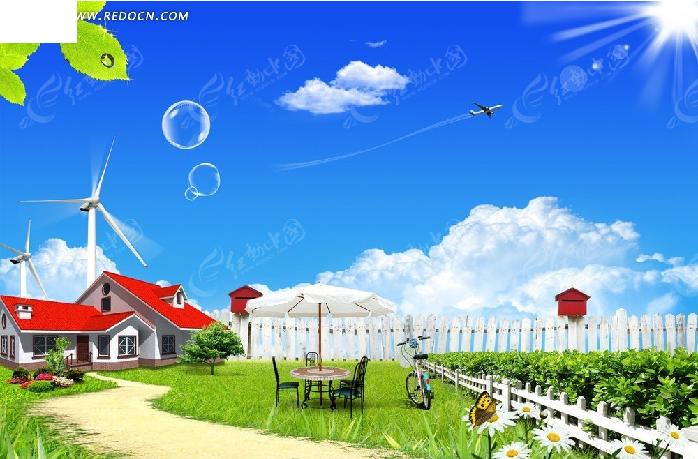 风车自然风景背景素材