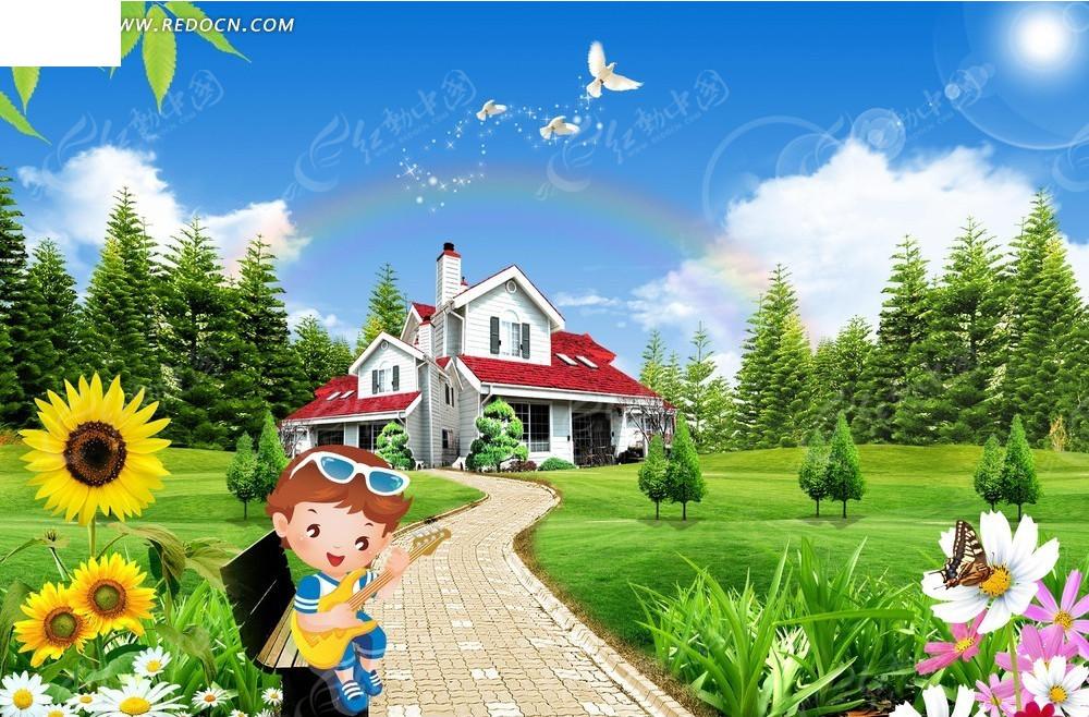 卡通小孩自然风景背景素材