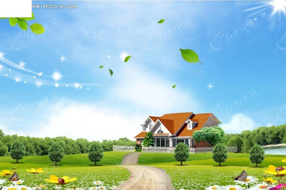 落叶自然风景背景素材