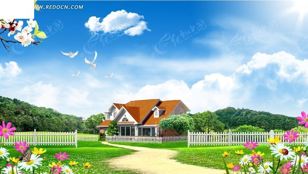 彩色花自然风景背景素材