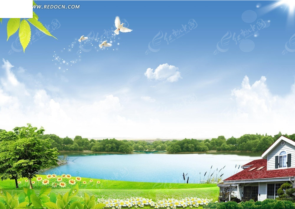 房子蓝天白云背景素材