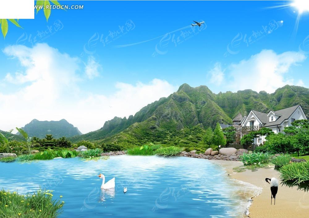 飞机自然风景背景素材