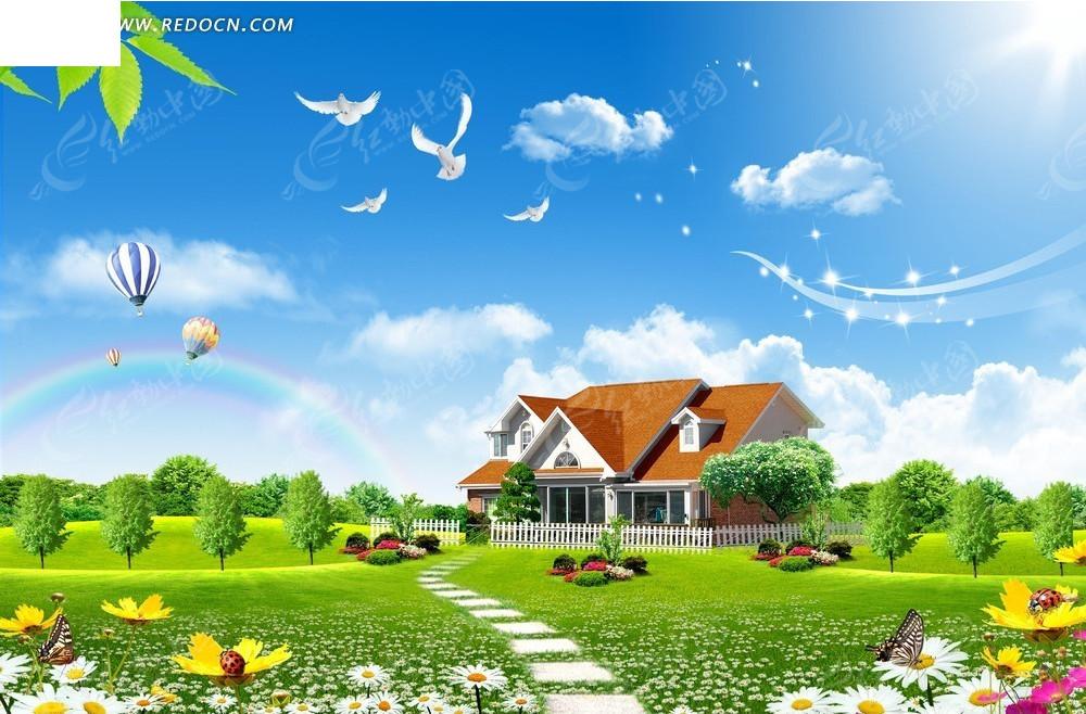 蝴蝶自然风景背景素材