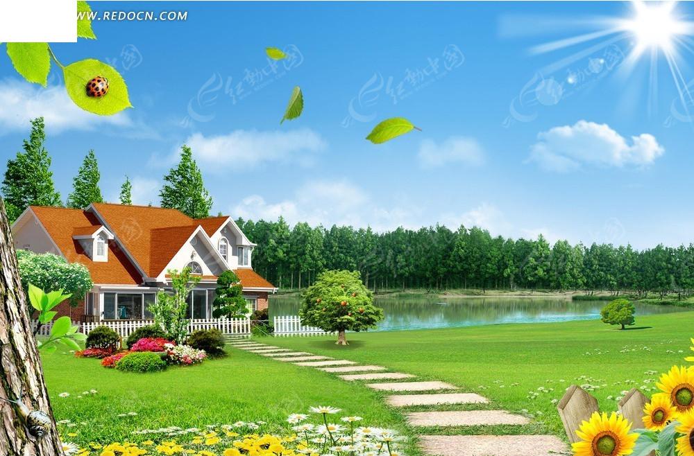 绿树自然风景背景素材图片图片