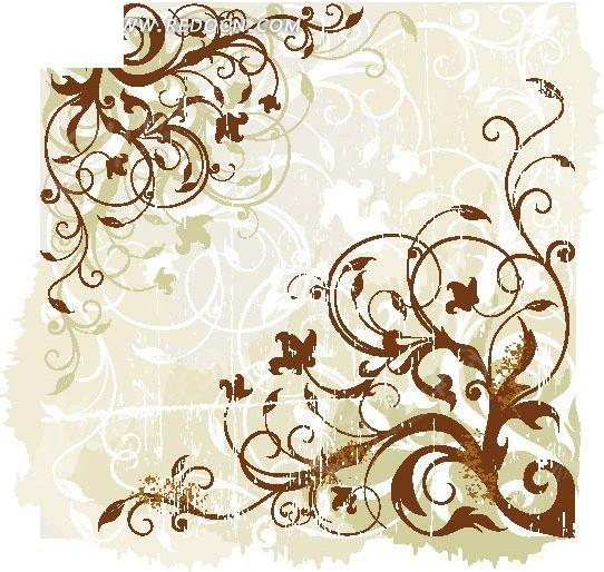 欧式植物花纹线条素材