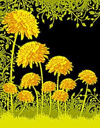 漂亮梦幻的黄色植物花纹底图