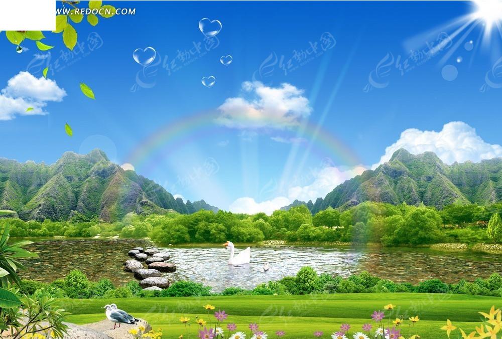 气泡自然风景背景素材