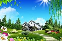 石板路草坪自然风景背景素材