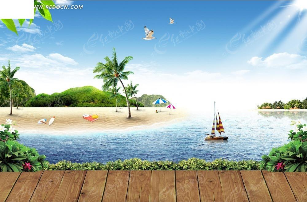 椰子树自然风景背景素材图片