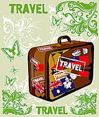 个性旅行箱花纹素材