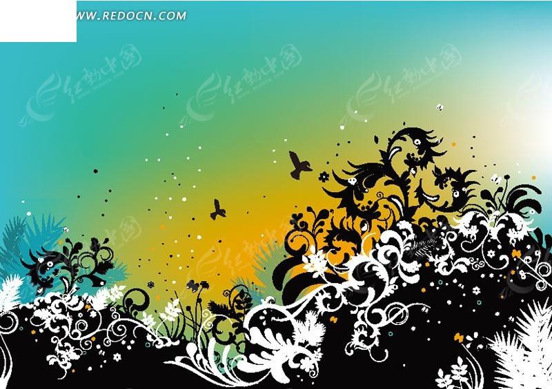 黑白相间植物花纹素材图片