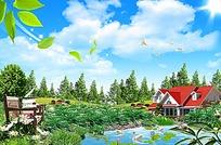 蓝天白云别墅户外景观背景素材