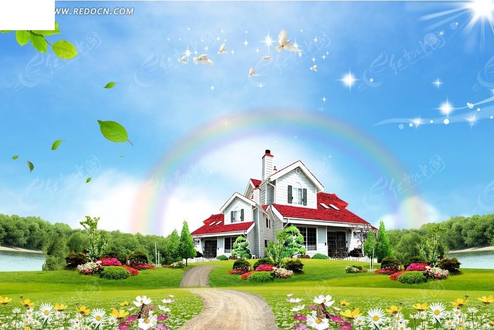 简单的房子和风景画画图片简笔画