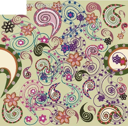 复杂螺旋花边环形边框背景素材