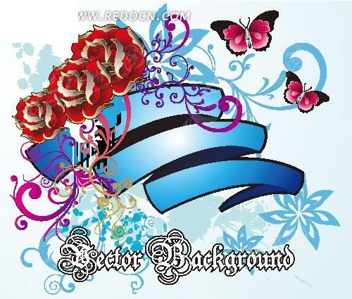 蓝色彩带玫瑰花纹背景素材矢量图