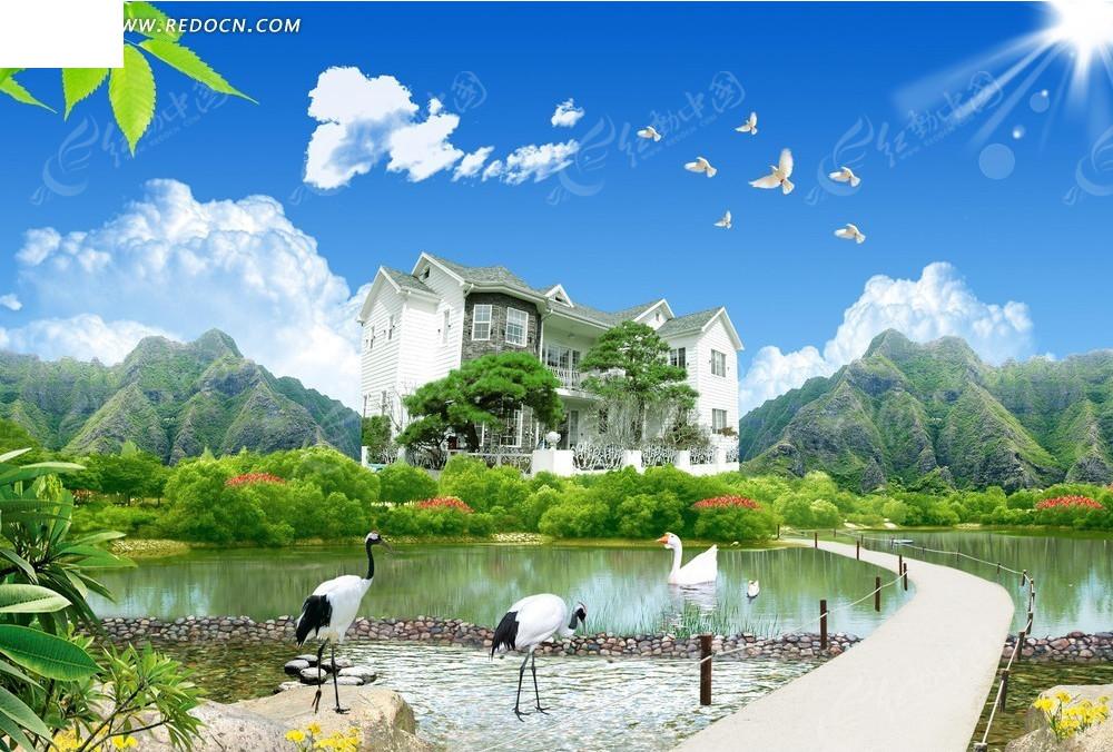 仙鹤飞鸟自然风景背景素材