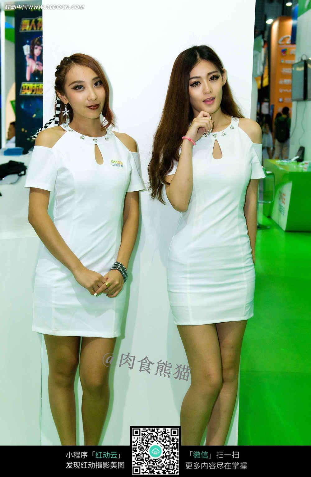 穿白色包裙的美女图片