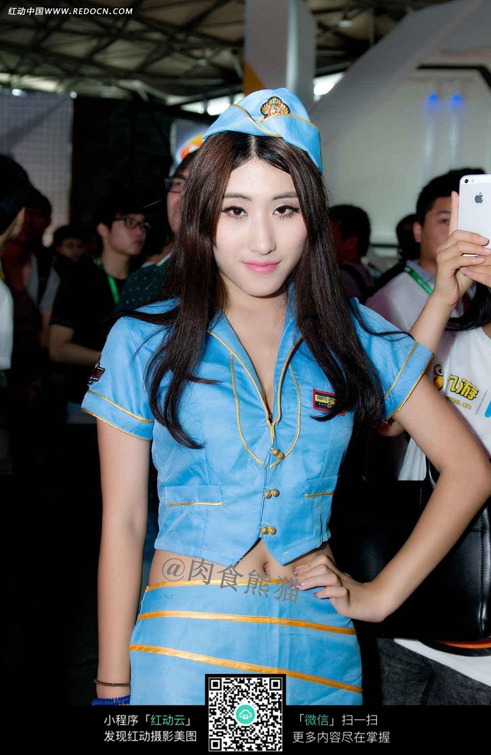 穿蓝色海军服的性感女神图片
