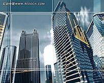 高楼建筑框架线条视频素材