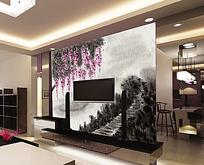电视背景墙古典水墨电视背景墙模板