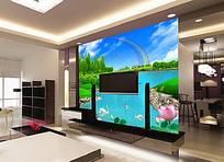 荷花电视背景墙