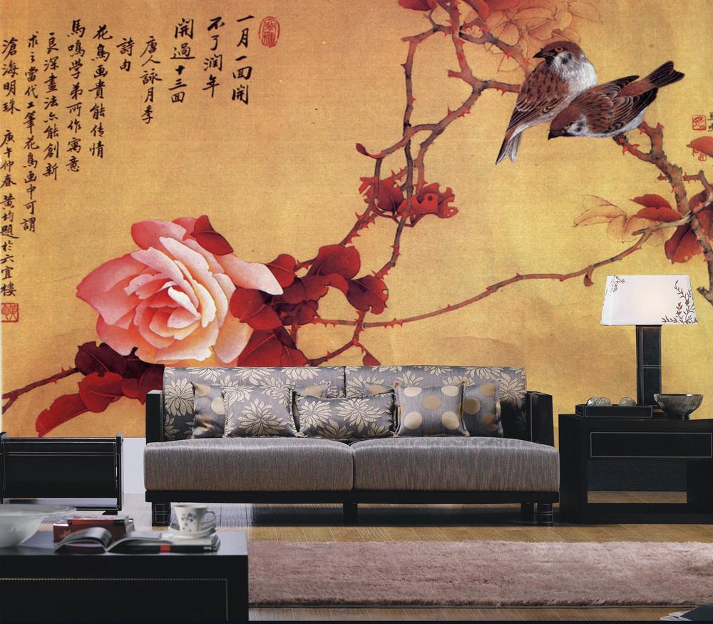 手绘花鸟电视背墙模板图片