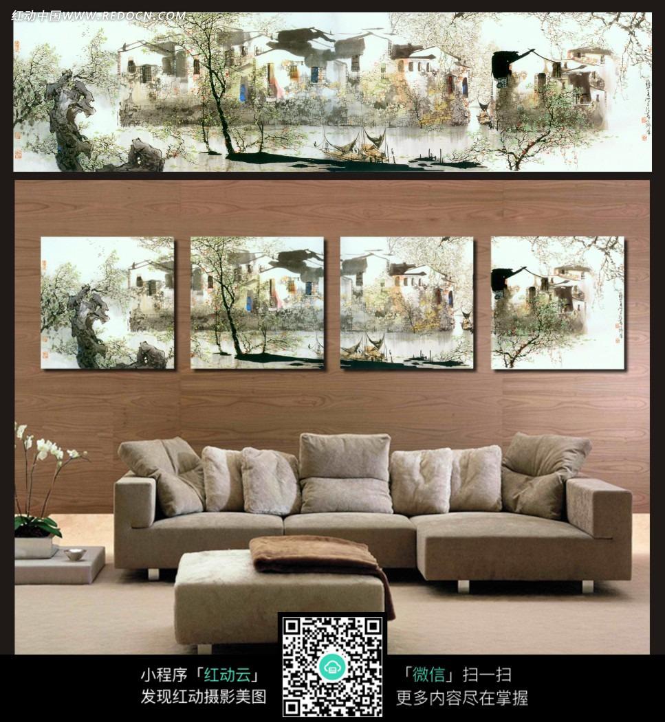 房子和树木室内装饰无框画