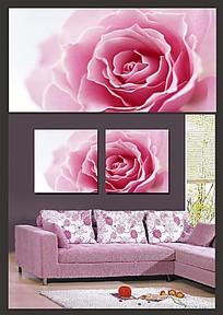 粉红花朵室内装饰无框画