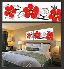 红色花朵室内装饰无框画