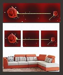 红色玫瑰室内装饰无框画