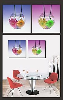 花朵和玻璃缸室内装饰无框画