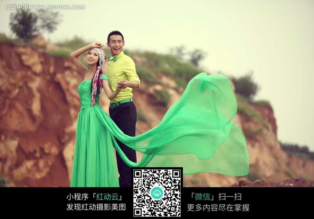绿色礼服婚纱摄影