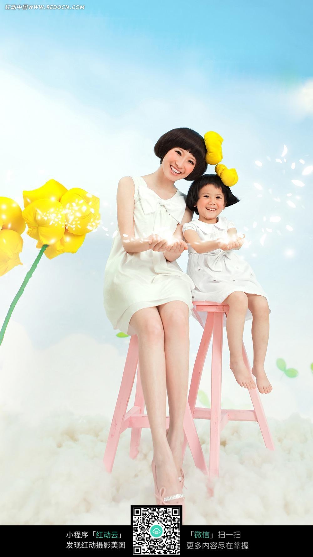 免费素材 图片素材 人物图片 儿童幼儿 小清新母子写真照