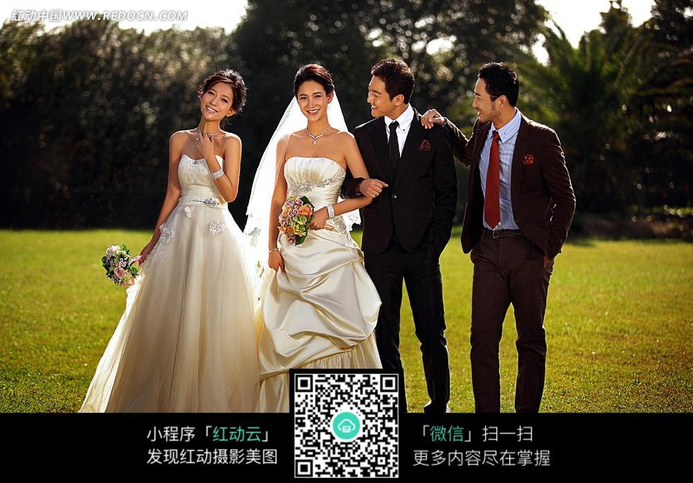 新郎新娘和伴郎伴娘婚纱摄影图片免费下载 编号3105867 红动网图片
