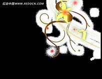 流动的白色金银花花纹视频
