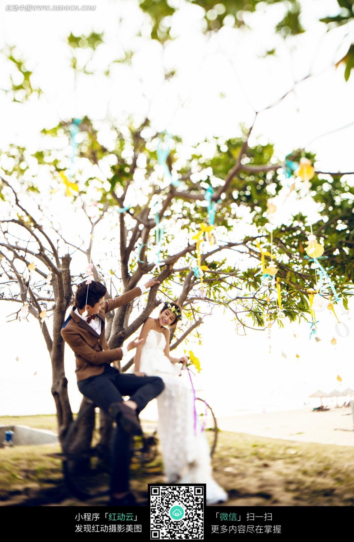 树下的情侣婚纱摄影