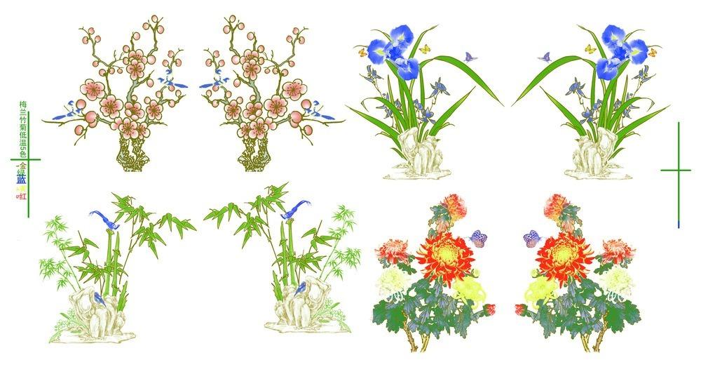 梅兰竹菊手绘植物
