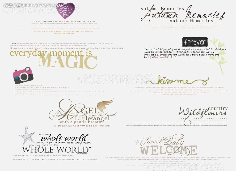 婚纱英文创意美工艺术字模板免费下载_英文字