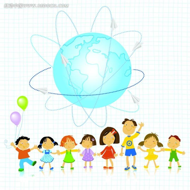 免费素材 矢量素材 节日矢量素材 儿童节 儿童手拉手跳舞卡通矢量素材