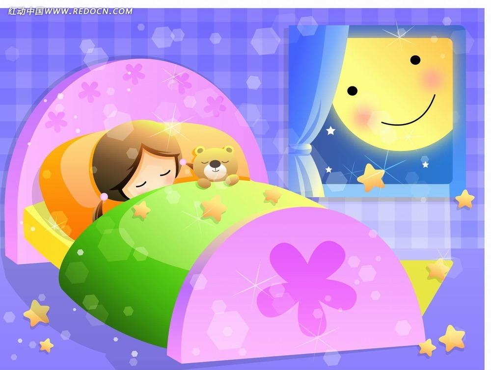 小女孩睡觉卡通矢量素材