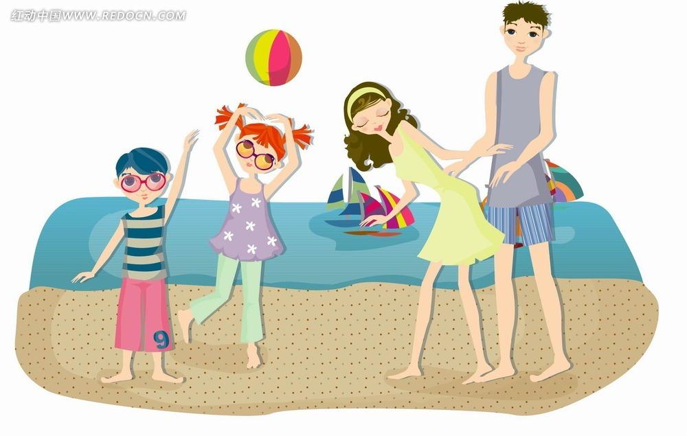 一家人沙滩打排球卡通矢量图