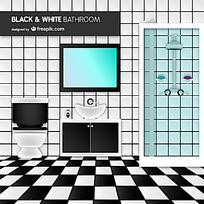 时尚黑白拼色浴室设计矢量素材