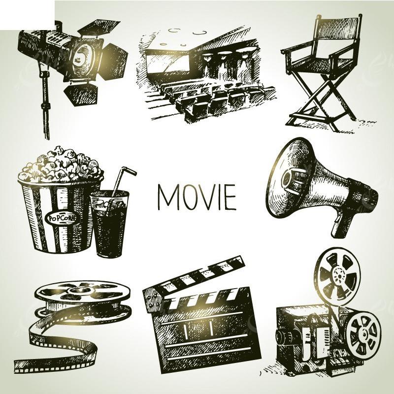电影 插画 手绘 电影元素